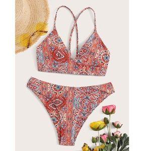 Super cute patterned bathing suit size L